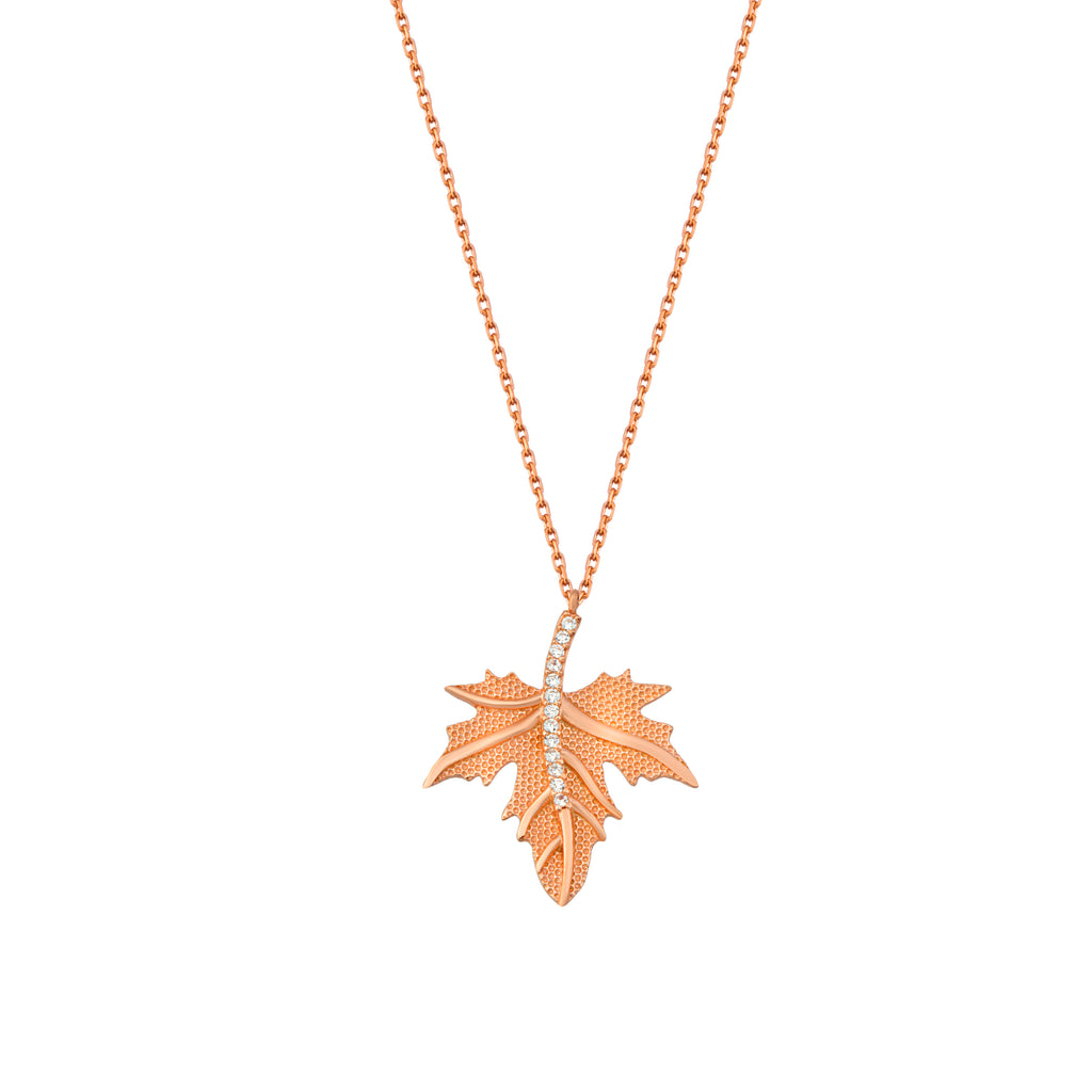 Trendy Grape Leaf Necklace 925 Crt Sterling Silver Gold Plated Wholesale Turkish Jewelry