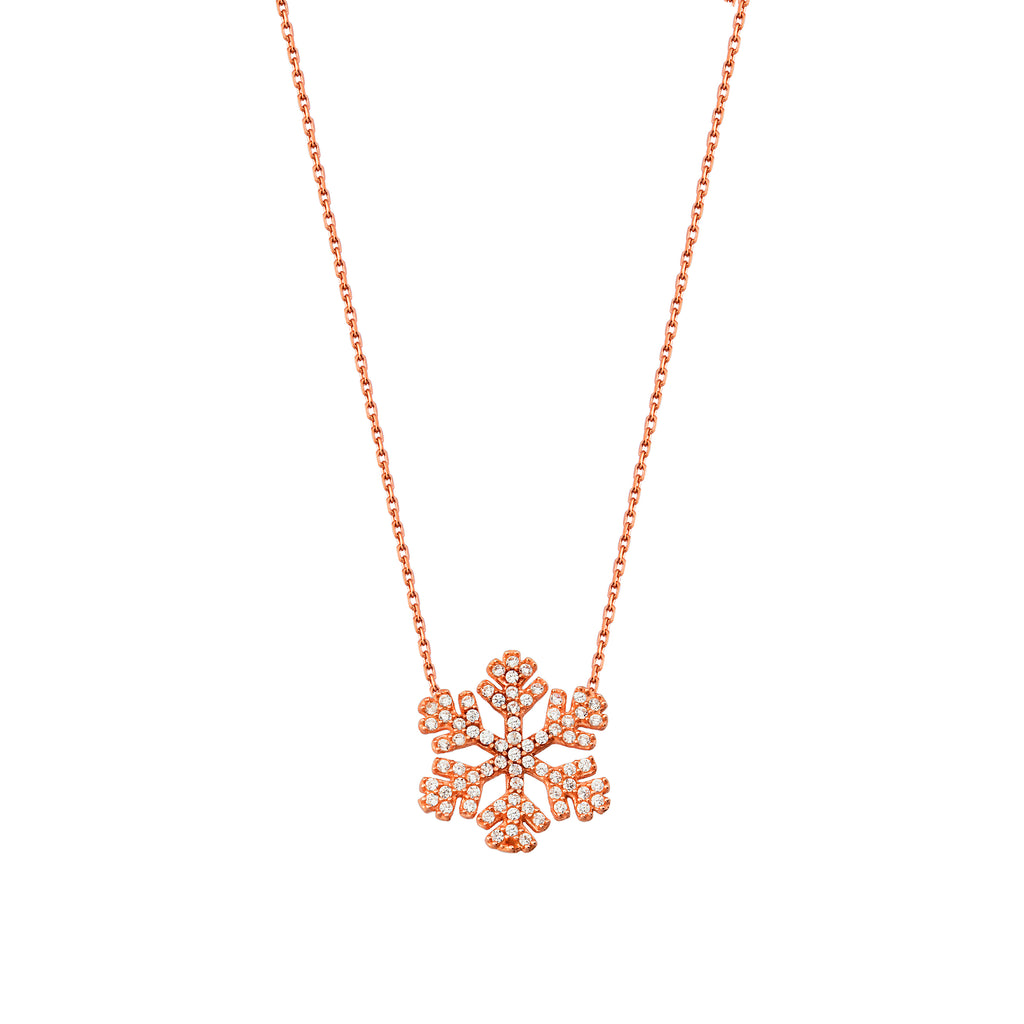 Trendy Zirconia Snowflake Necklace 925 Crt Sterling Silver Gold Plated Wholesale Turkish Jewelry