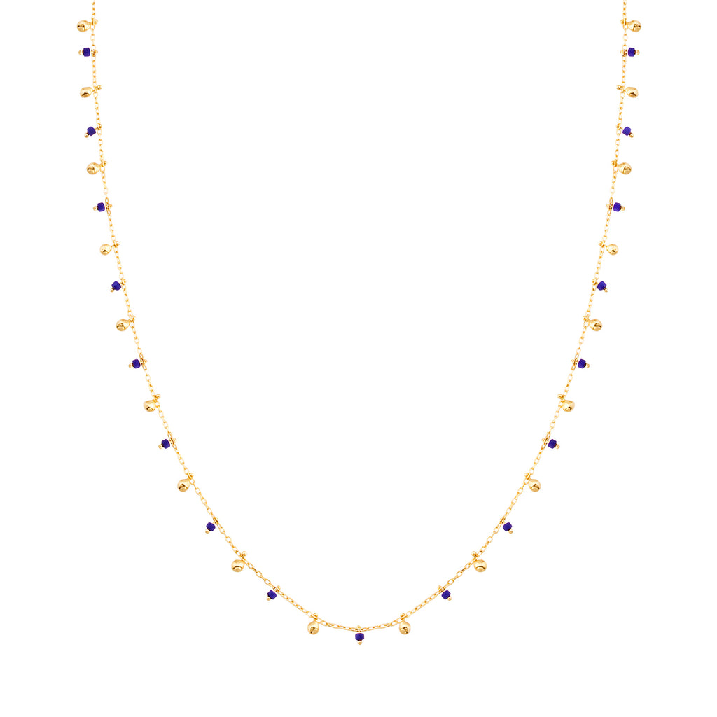 925 Crt Sterling Silver Blue Bead and Mini Balls Gold Plated Necklace Wholesale Turkish Jewelry
