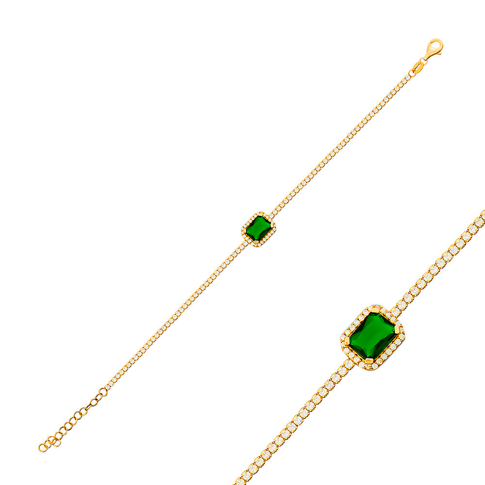 Green Emerald 1,7 mm Zirconia Tennis Gold Plated Tennis Bracelet Wholesale 925 Crt Sterling Silver Turkish Jewelry