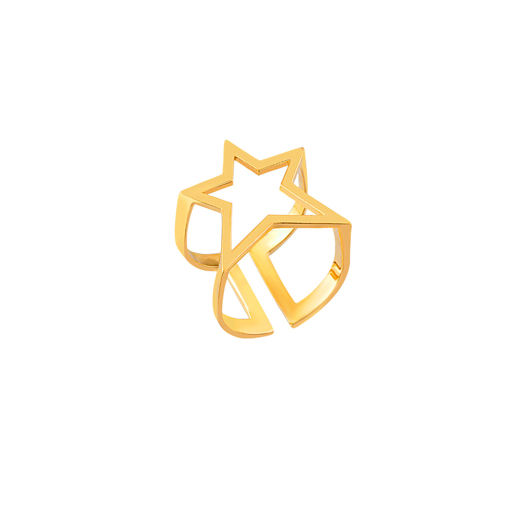 Gold Plated Star Ring 925 Crt Sterling Silver  Wholesale Turkish Jewelry