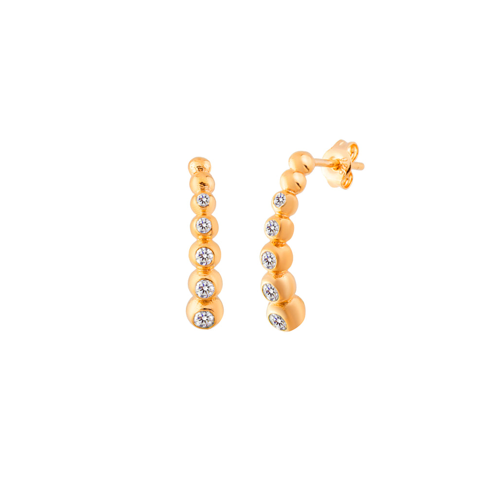 Gold Plated Mini Ball Hanging Stud Earring 925 Crt Sterling Silver   Wholesale Turkish Jewelry
