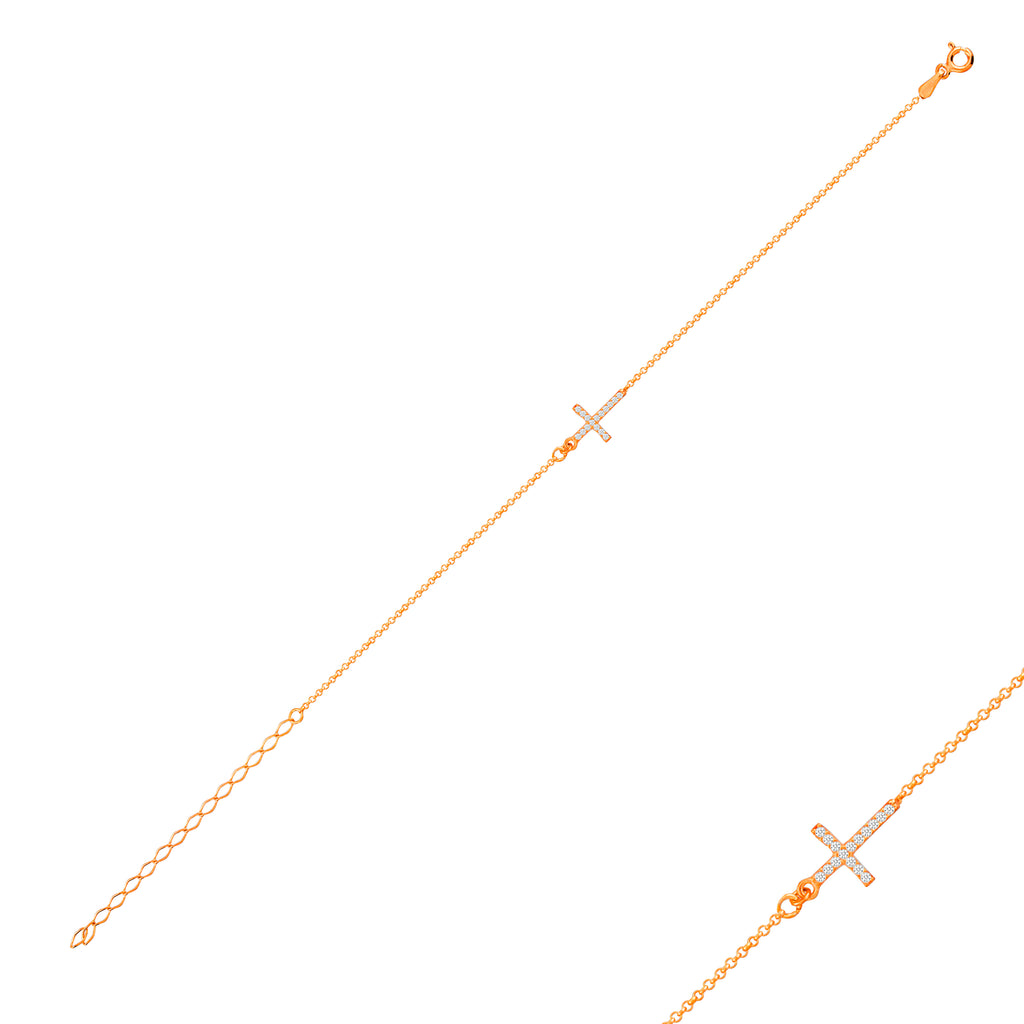 Gold Plated Cross Bracelet Wholesale  925 Crt Sterling Silver  Turkish Jewelry