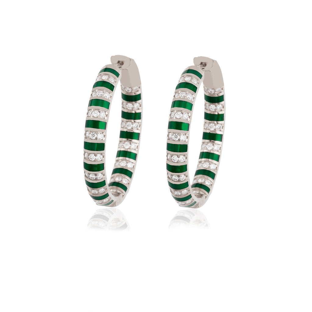 925 Crt Sterling Silver Green Striped Enamel Zirconium Big Hoop Gold Plated Fashionable Earring Wholesale Turkish Jewelry