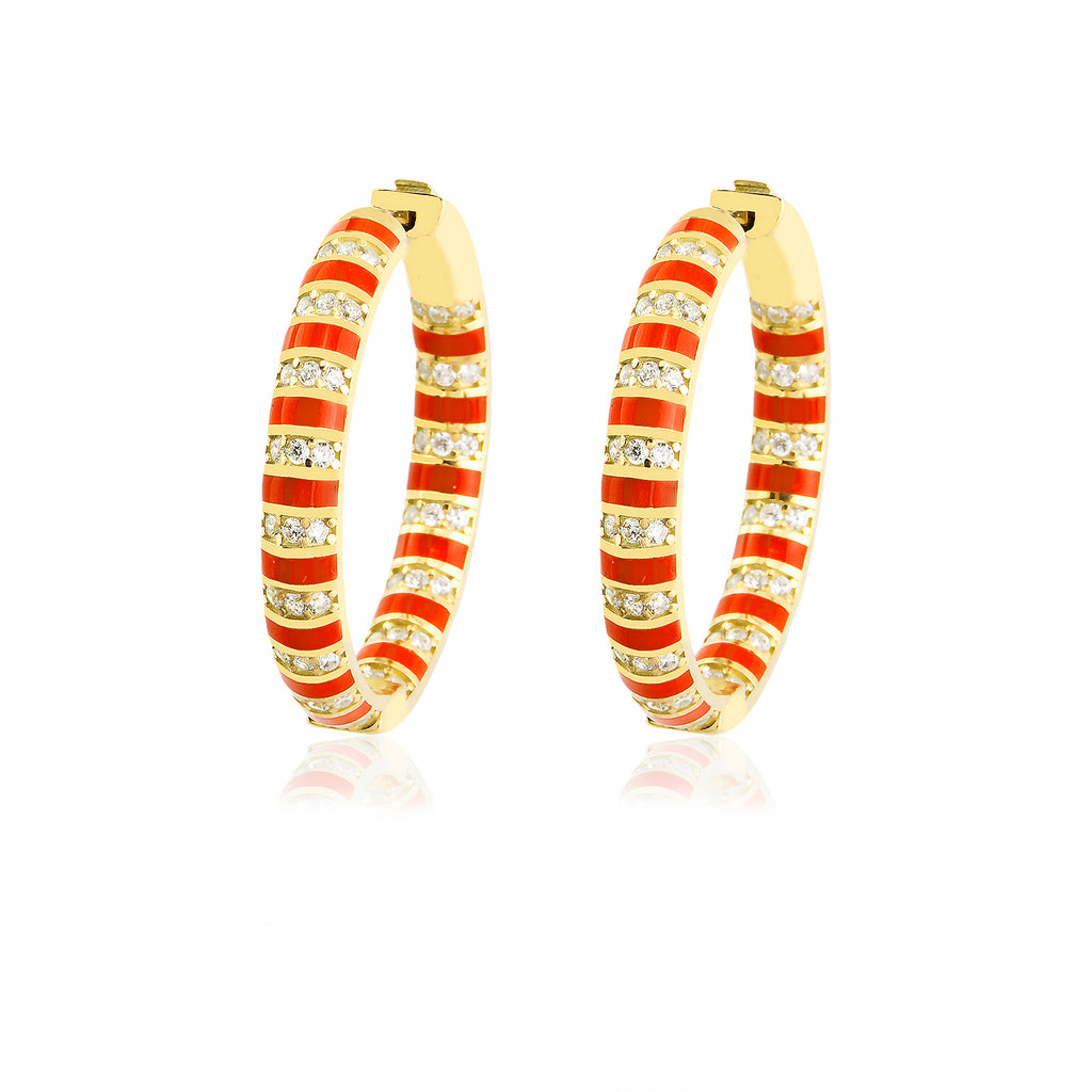 Red Striped Enamel Zirconium Big Hoop Gold Plated Fashionable Earring 925 Crt Sterling Silver Wholesale Turkish Jewelry