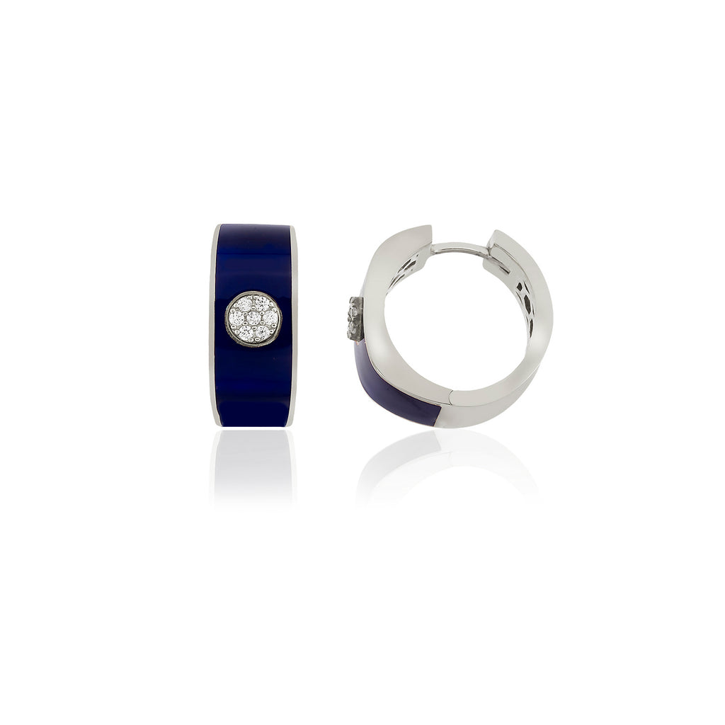 925 Crt Sterling Silver Best Price Best Quality Saxe Blue Enamel Hoop Gold Plated Fashionable Earring Wholesale Turkish Jewelry