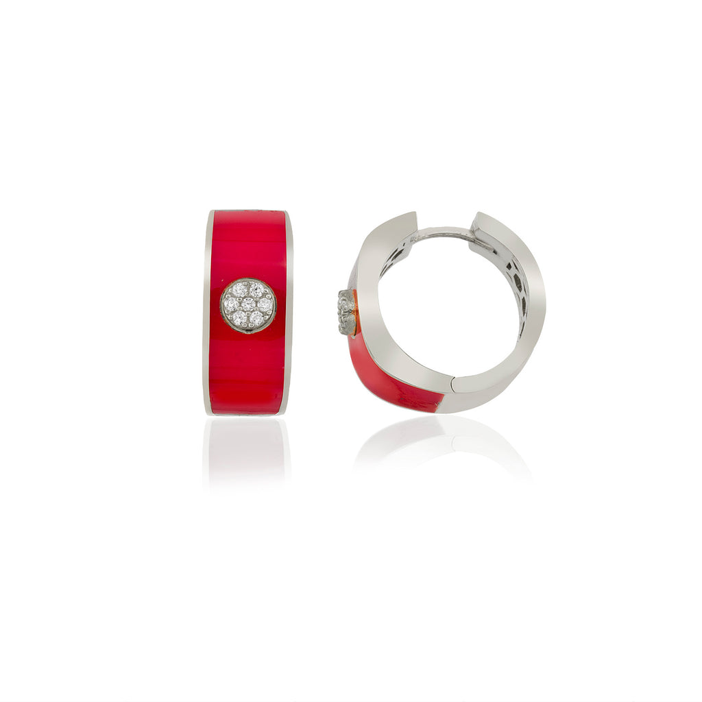 925 Crt Sterling Silver Best Price Best Quality Red Enamel Hoop Gold Plated Fashionable Earring Wholesale Turkish Jewelry