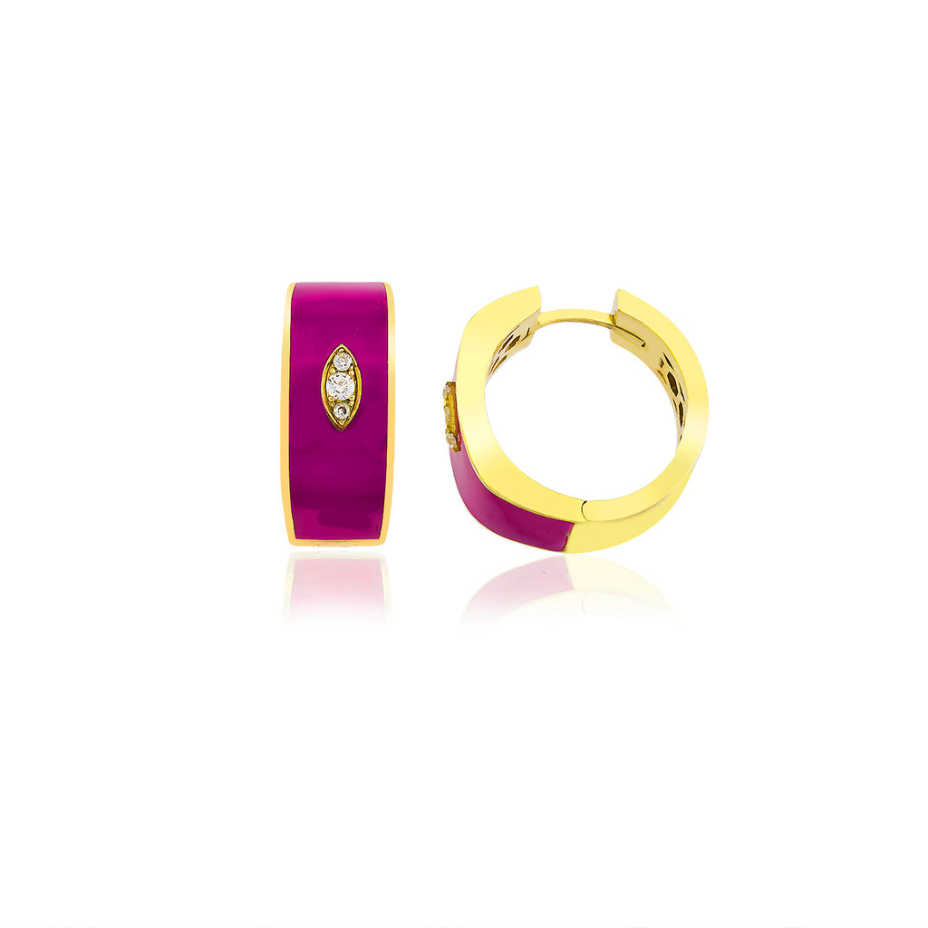 Best Price Best Quality Cyclamen Enamel Hoop Gold Plated Fashionable Earring 925 Crt Sterling Silver Wholesale Turkish Jewelry