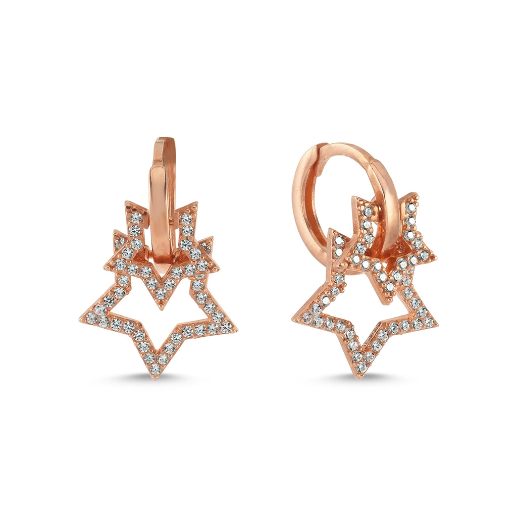 New Trend White Zirconium Double Star Dangle Earring 925 Sterling Silver  Wholesale Fashionable Turkish Jewelry