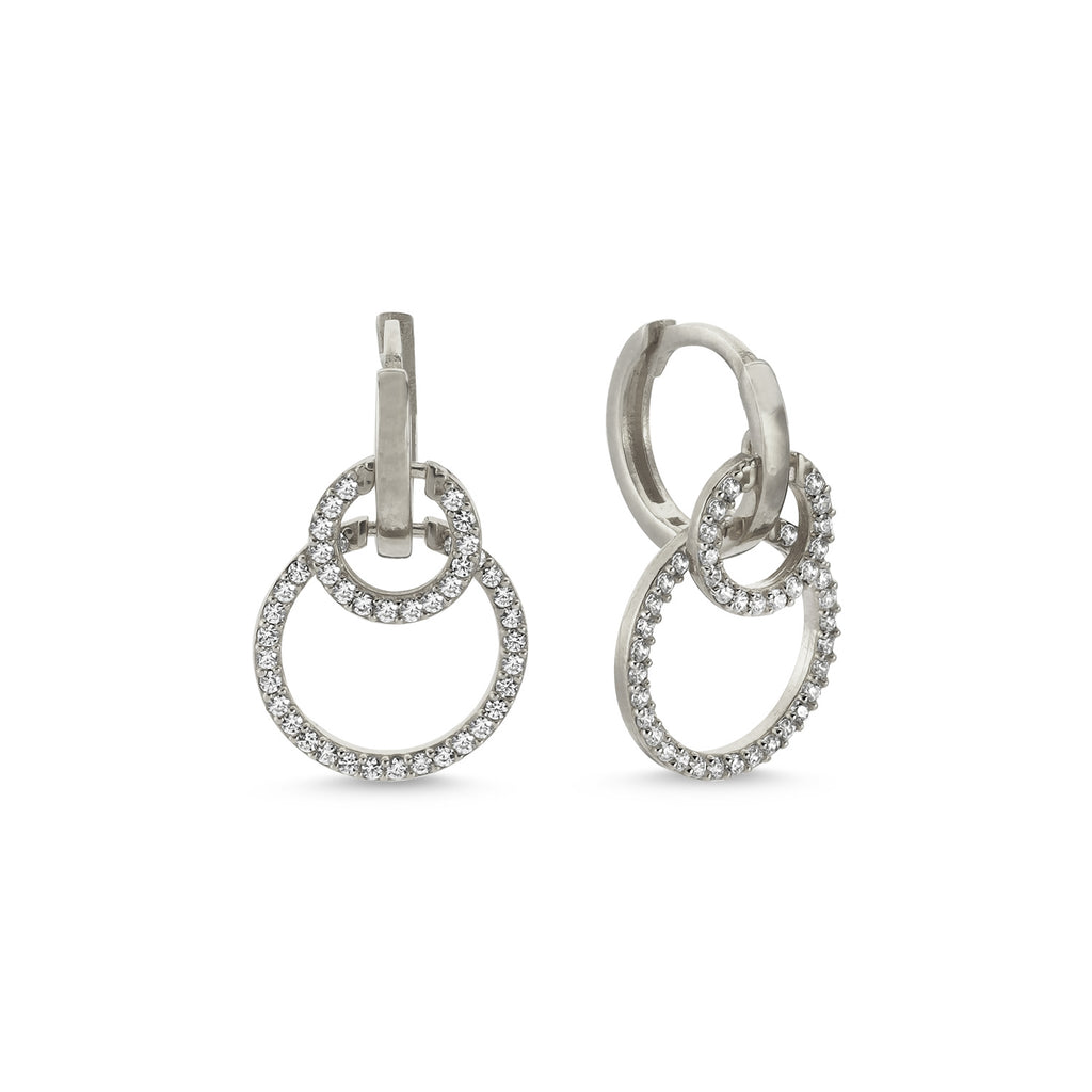 New Trend Zirconium Double Circle Dangle Earring 925 Sterling Silver   Wholesale Fashionable Turkish Jewelry