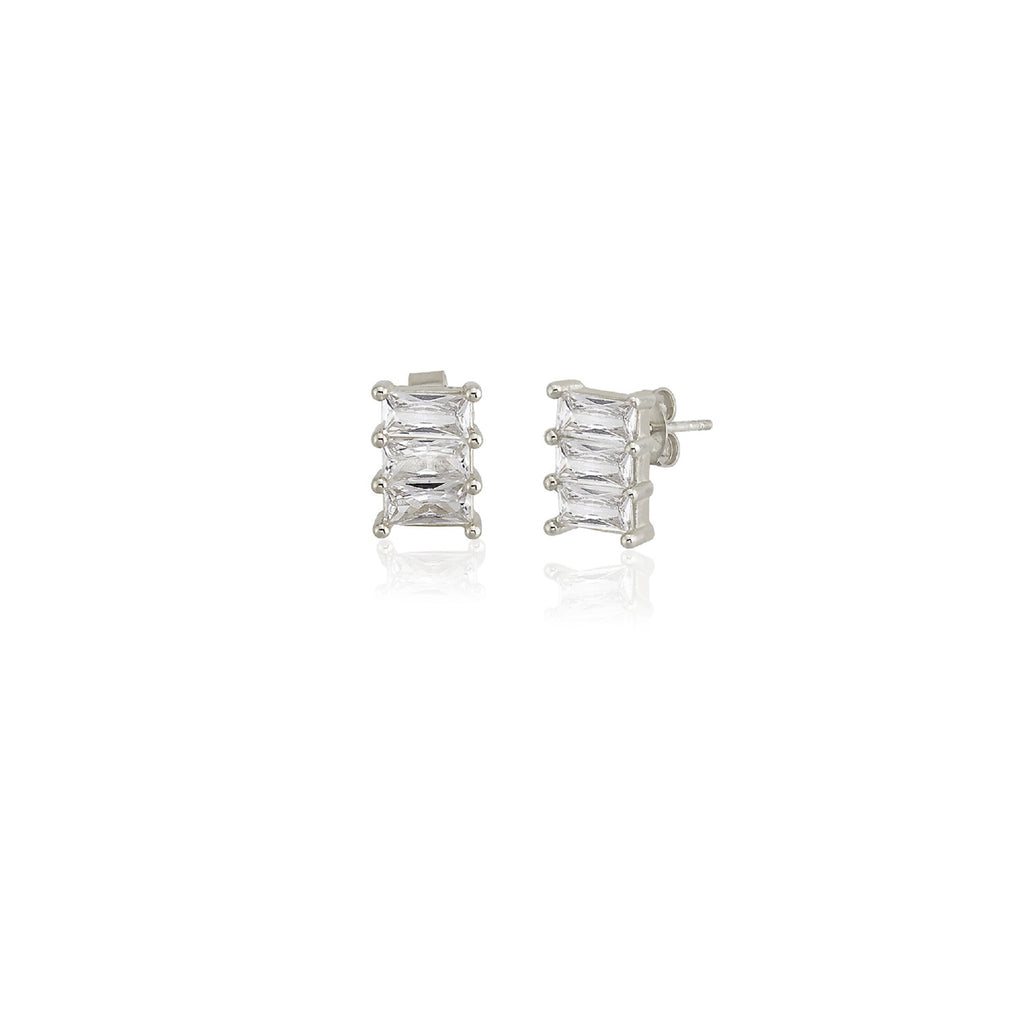 925 Sterling Silver White Zirconia Three Baquette Stud Earring Best Price Best Quailty Custom Design Wholesale Turkish Jewelry