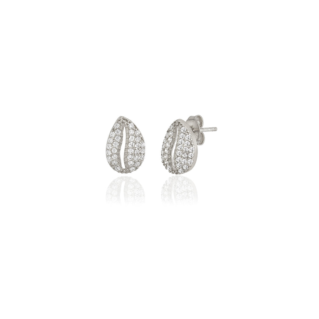 925 Sterling Silver White Zirconia Sea Shell Stud Best Price Best Quailty Custom Design Fashionable Earring Wholesale Turkish Jewelry
