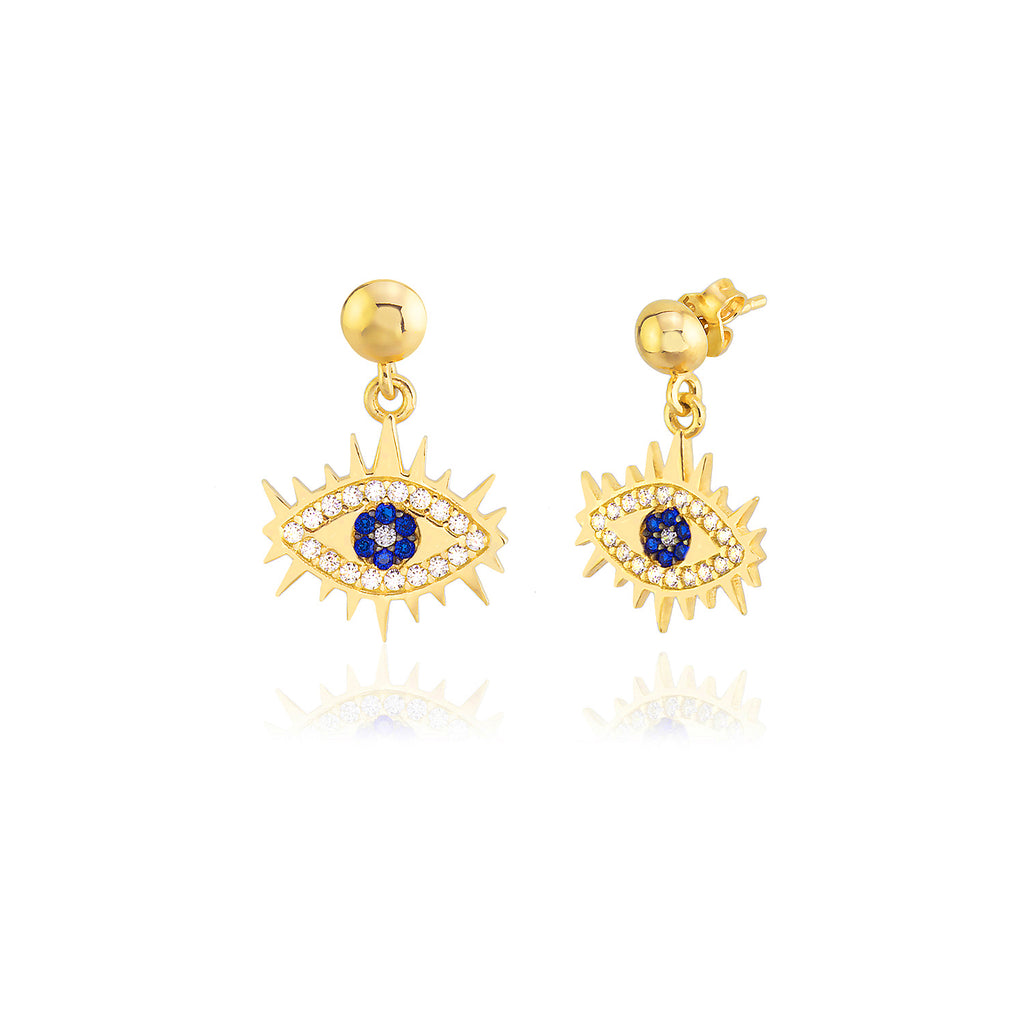 925 Sterling Silver White Blue Zirconia Evil Eye Dangle Earring Custom Design Best Price Best Quality Wholesale Turkish Jewelry