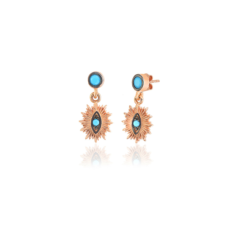 925 Sterling Silver Vertical Turquoise EvilEye Dangle Earring Best Price Best Quality Custom Design Wholesale Turkish Jewelry