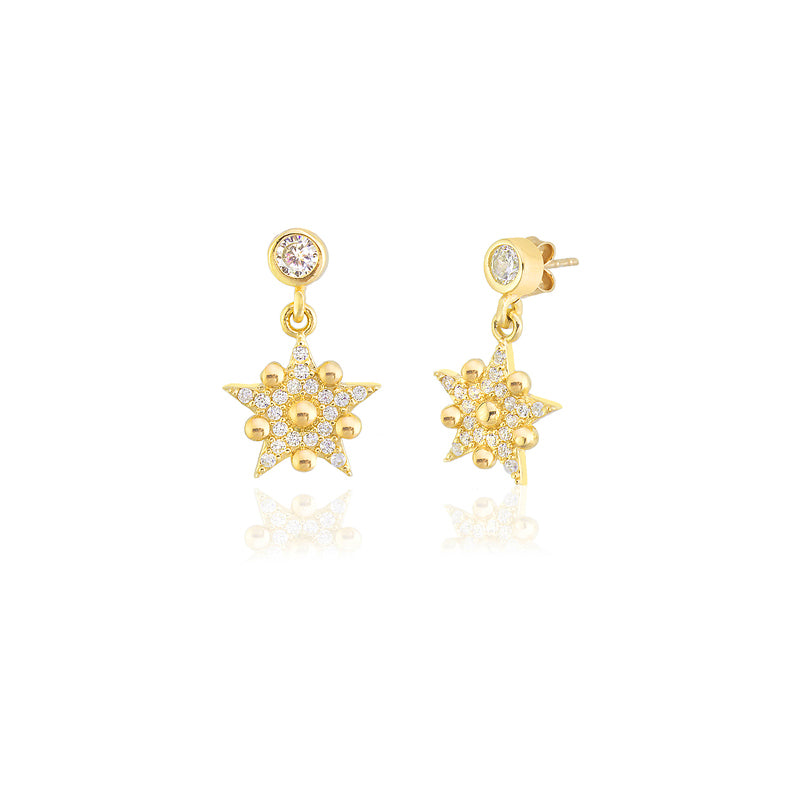 925 Sterling Silver Wholesale Turkish Jewelry Best Price Best Quality Custom Design New Trends White Zirconia Star Earring