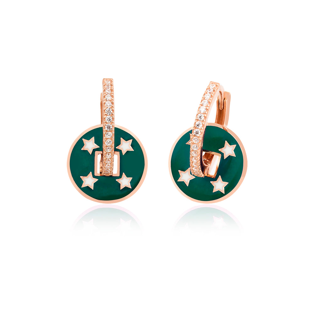 925 Crt Sterling Silver Green Enamel Coin Star Hoop Gold Plated Fashionable Earring Wholesale Turkish Jewelry