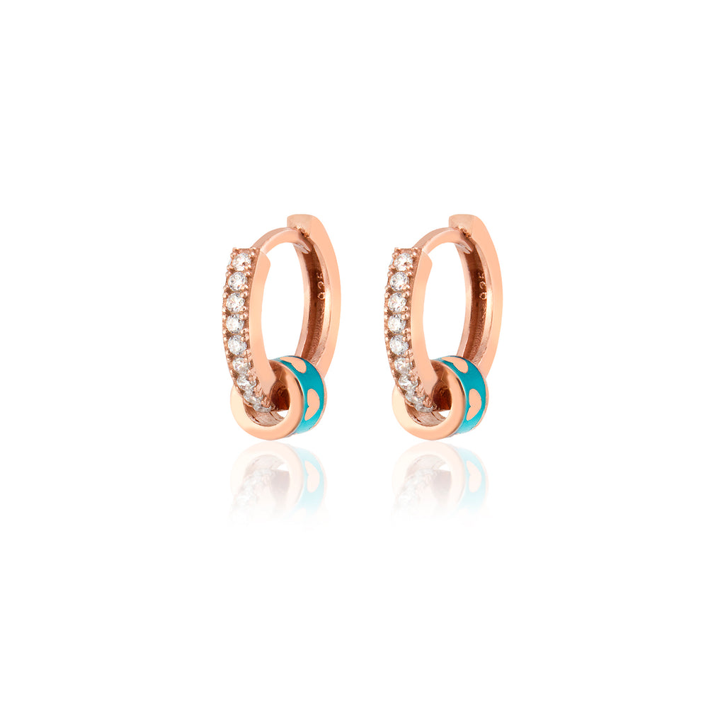 925 Crt Sterling Silver Best Price Best Quality Turquoise Enamel Heart Hoop Gold Plated Fashionable Earring Wholesale Turkish Jewelry