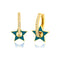 925 Crt Sterling Silver Best Price Best Quality Turquoise Star Enamel Hoop Gold Plated Fashionable Earring Wholesale Turkish Jewelry