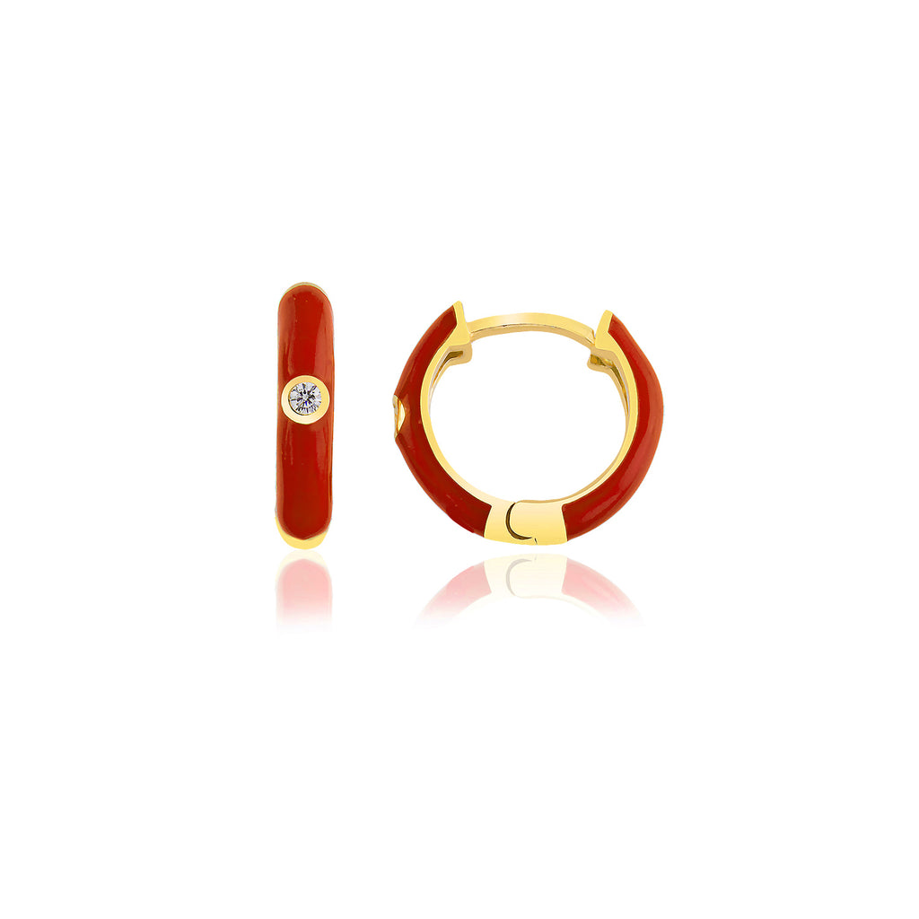 925 Crt Sterling Silver Red Enamel Zirconia Small Hoop Gold Plated Fashionable Earring Wholesale Turkish Jewelry