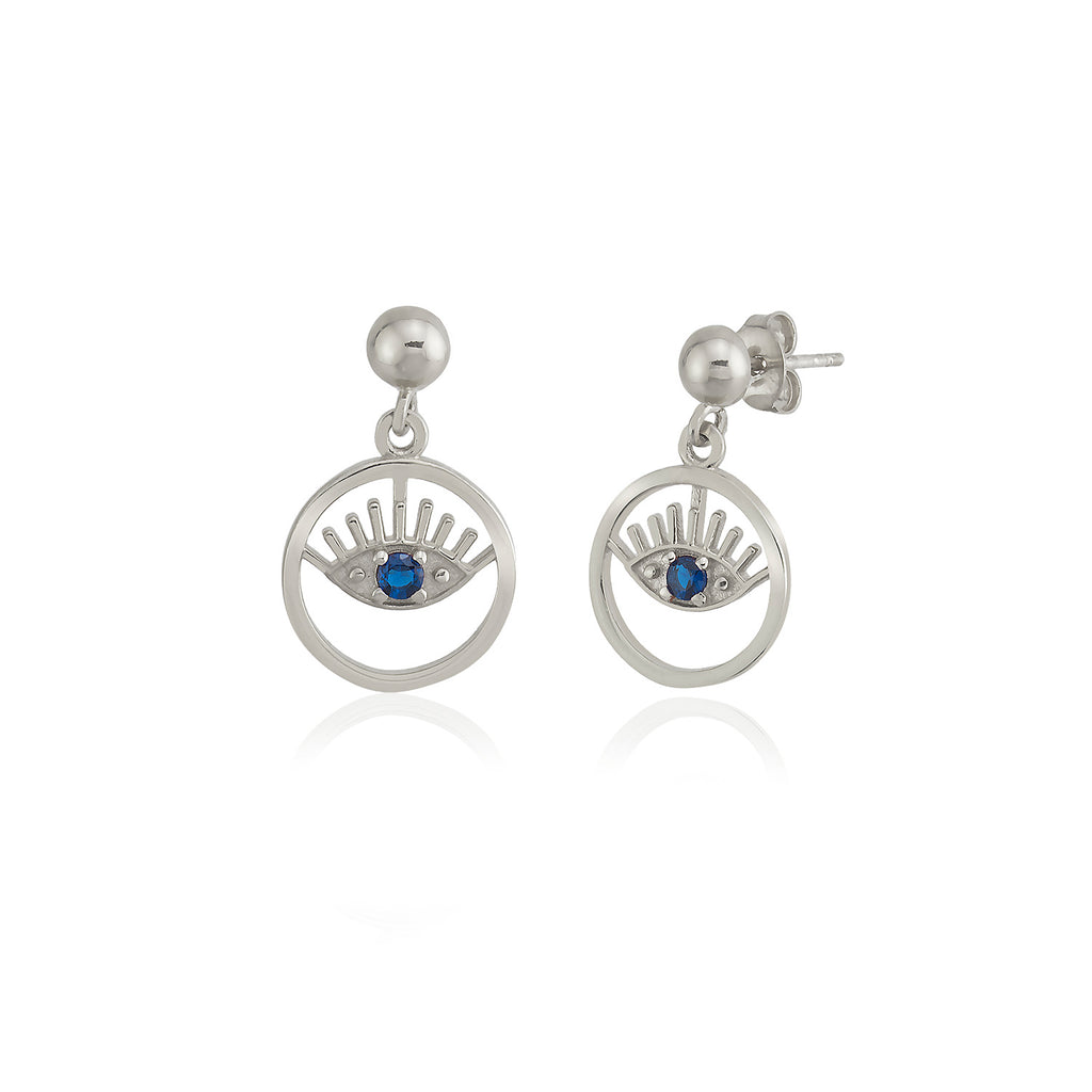 925 Sterling Silver Best Price Best Quality Custom Design Fashionable Blue Evileye Wholesale Turkish Jewelry Earring