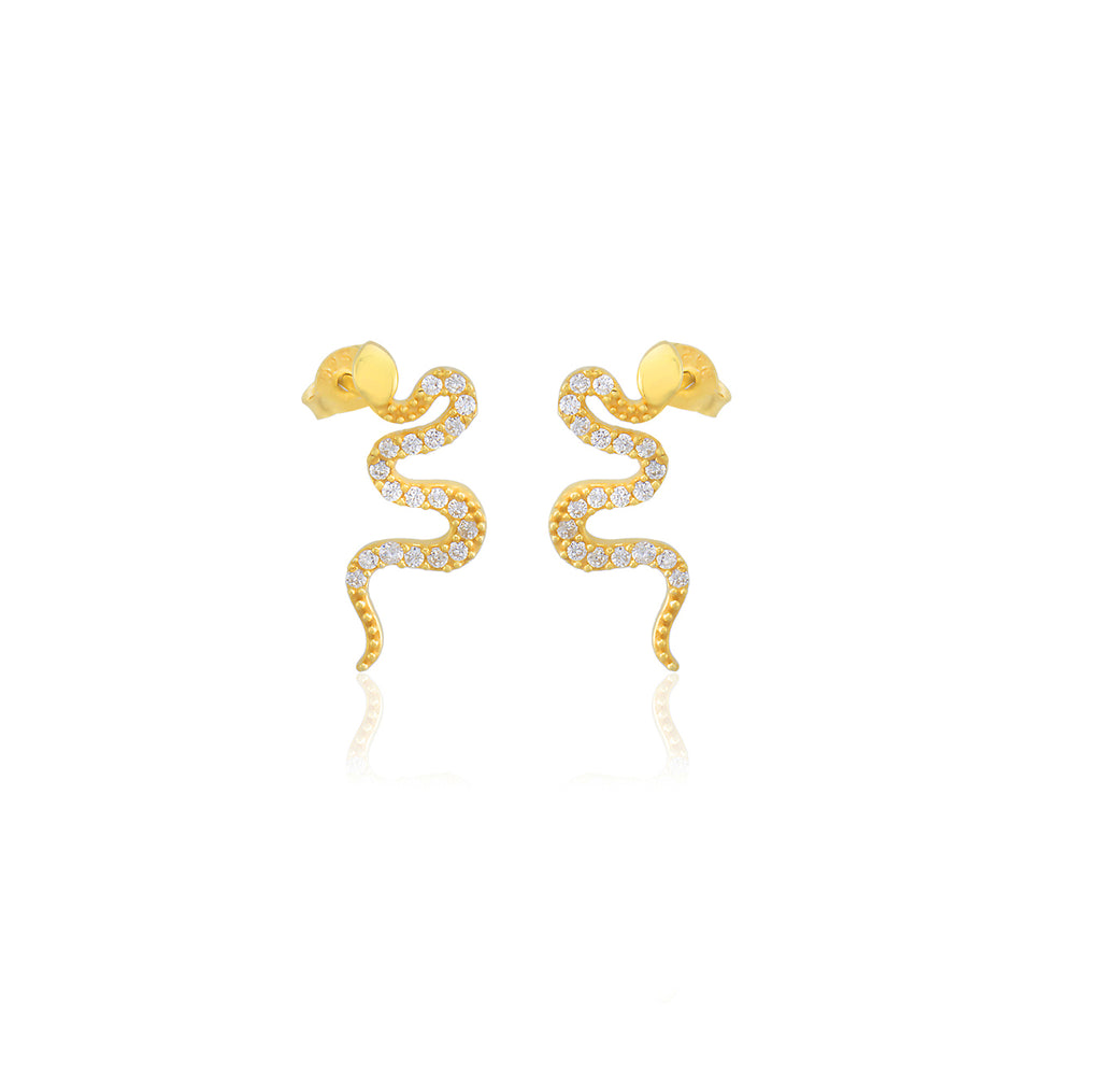 925 Sterling Silver Gold Plated Best Quality Custom Design New Trends White Zirconia Snake Wholesale Turkish Jewelry Earring