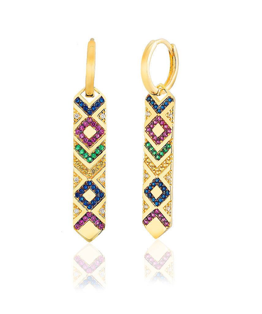 925 Sterling Silver 18K Gold Plated Best Price Best Quality Custom Design Colorfull Zirconia Ethnic Wholesale Turkish Jewelry Earring