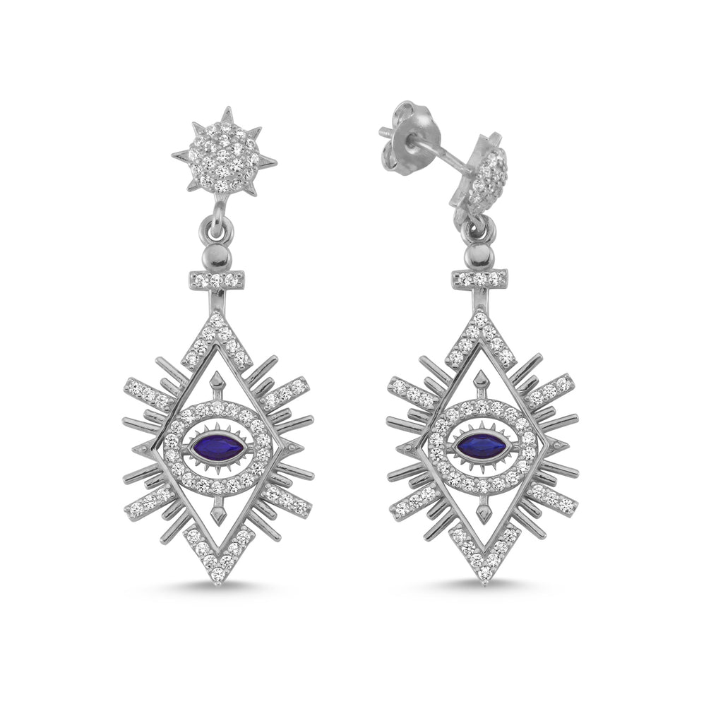New Trend Blue Hanging Eye Zirconium Dangle Earring Wholesale 925 Sterling Silver Fashionable Turkish Jewelry