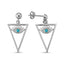 New Trend Turquoise Evil Eye In Triangle Dangle Earring  925 Sterling Silver  Wholesale Fashionable Turkish Jewelry