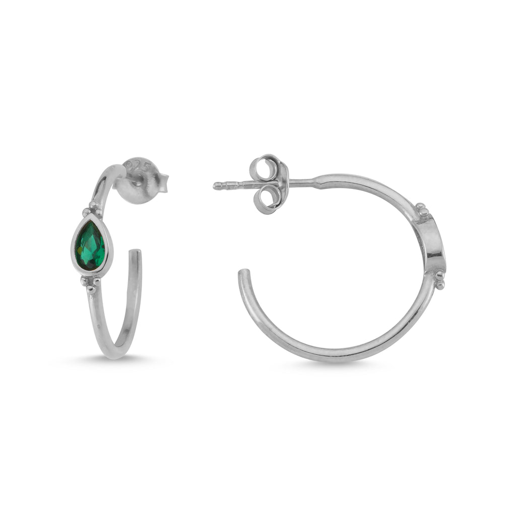 New Trend Green Drop Zirconium Hoop Earring 925 Sterling Silver   Wholesale Fashionable Turkish Jewelry