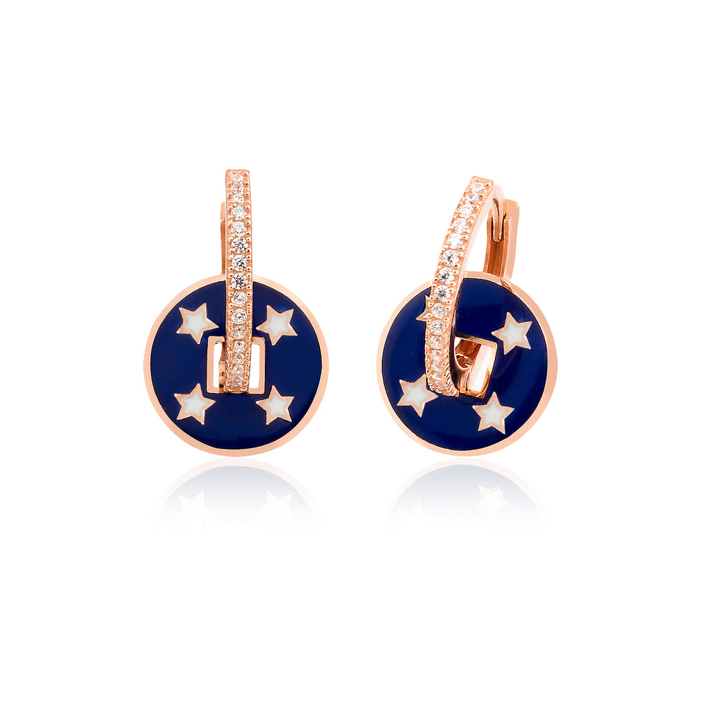 925 Crt Sterling Silver Saxe Blue Enamel Coin Star Hoop Gold Plated Fashionable Earring Wholesale Turkish Jewelry