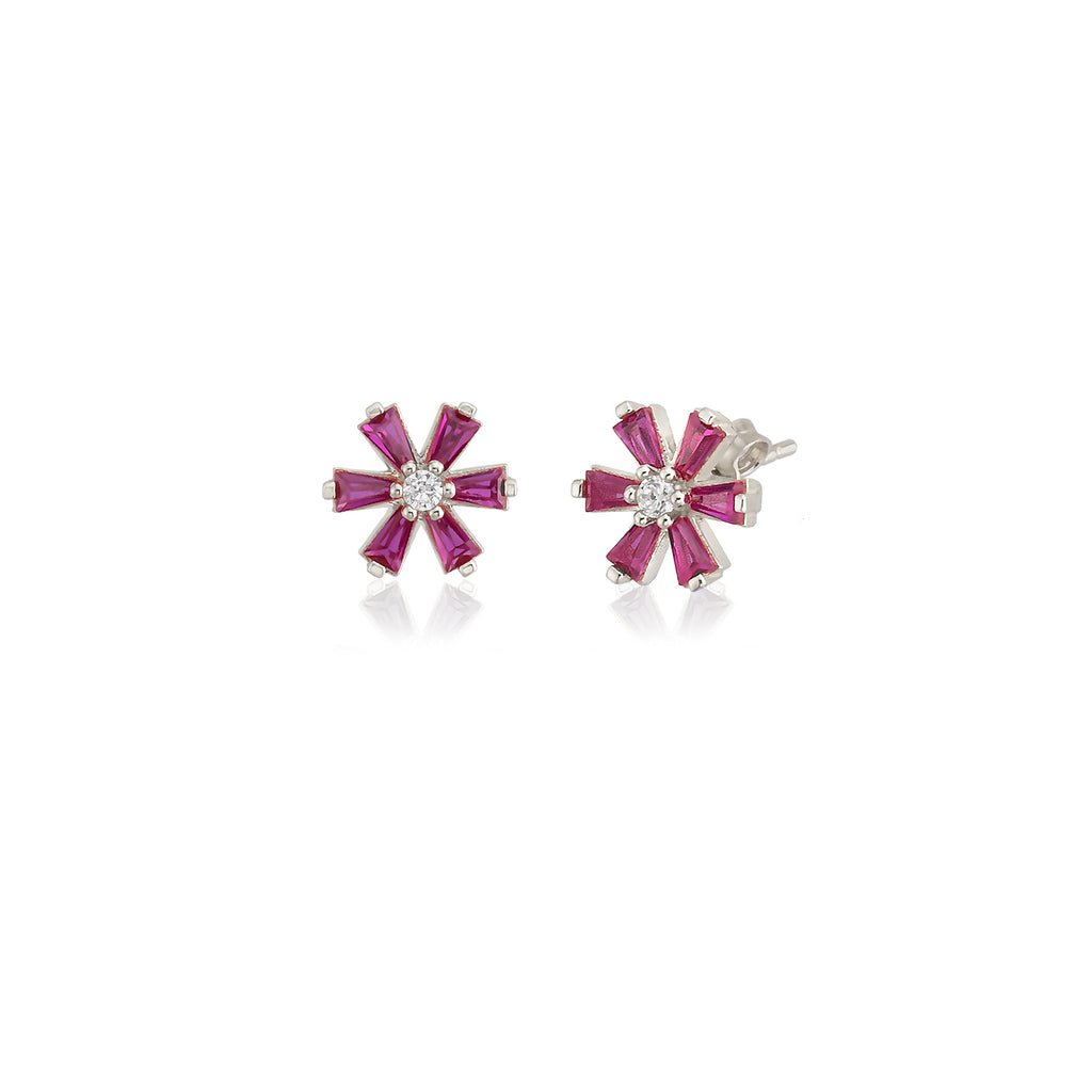925 Sterling Silver 18K Plating Best Quality Custom Design New Trends Fashionable Pink Zirconia Flower Daisy Wholesale Turkish Jewelry Earring