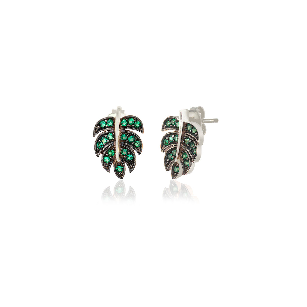 925 Sterling Silver 18K Gold Plating Best Quality Custom Design Green Zirconium Palm Three Leaves Wholesale Turkish Jewelry Earring
