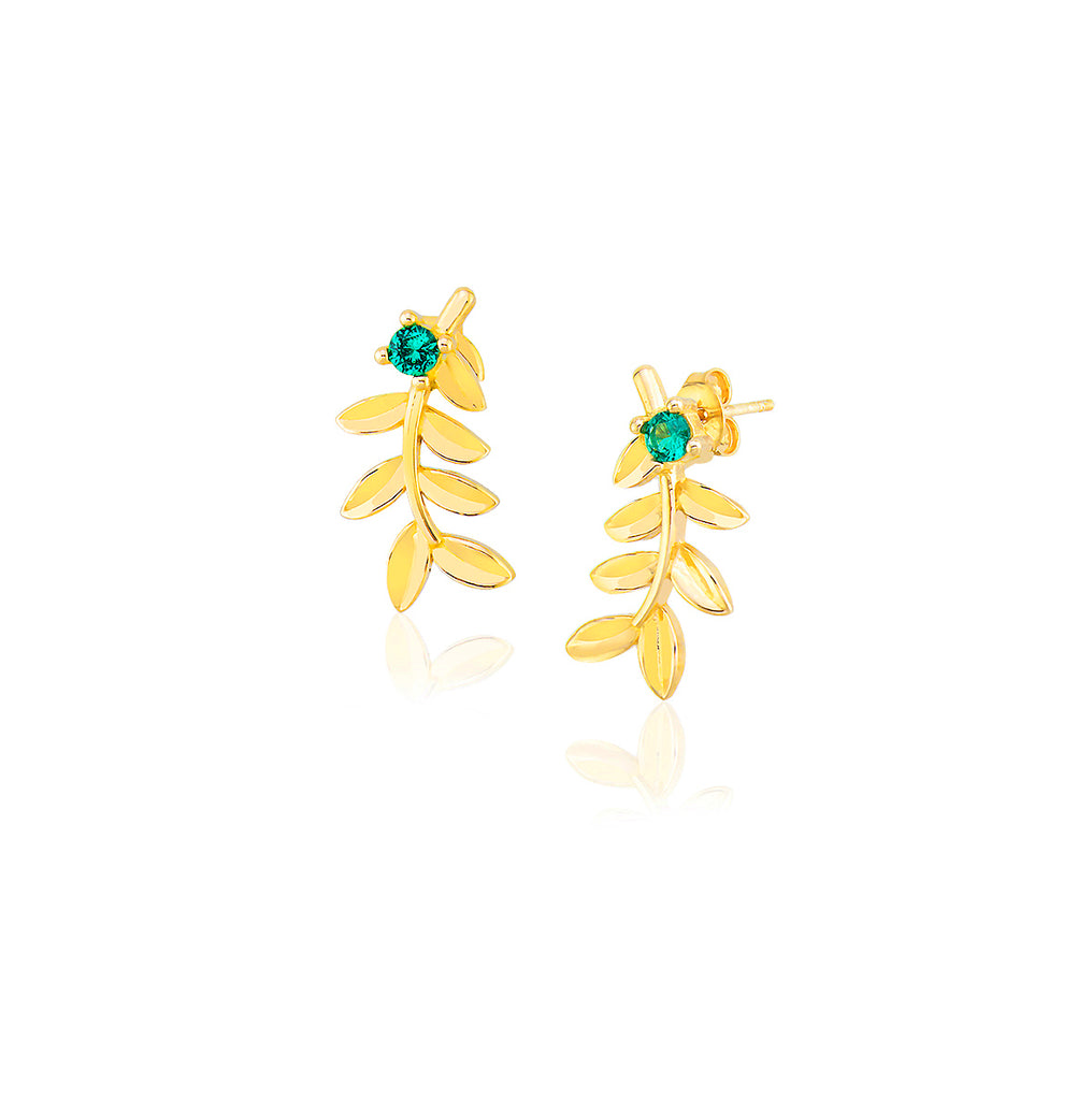 925 Sterling Silver 18K Gold Plating Best Quality Custom Design New Trends Fashionable Green Zirconia Leaf Wholesale Turkish Jewelry Earring