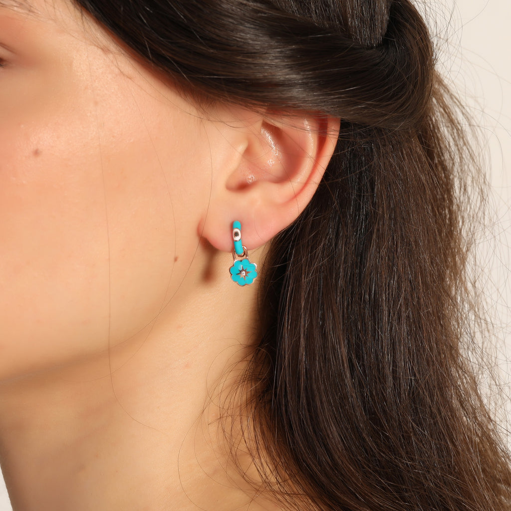 New Trend Blue Enamel Removable Flower Dangle Earring 925 Sterling Silver  Wholesale Fashionable Turkish Jewelry