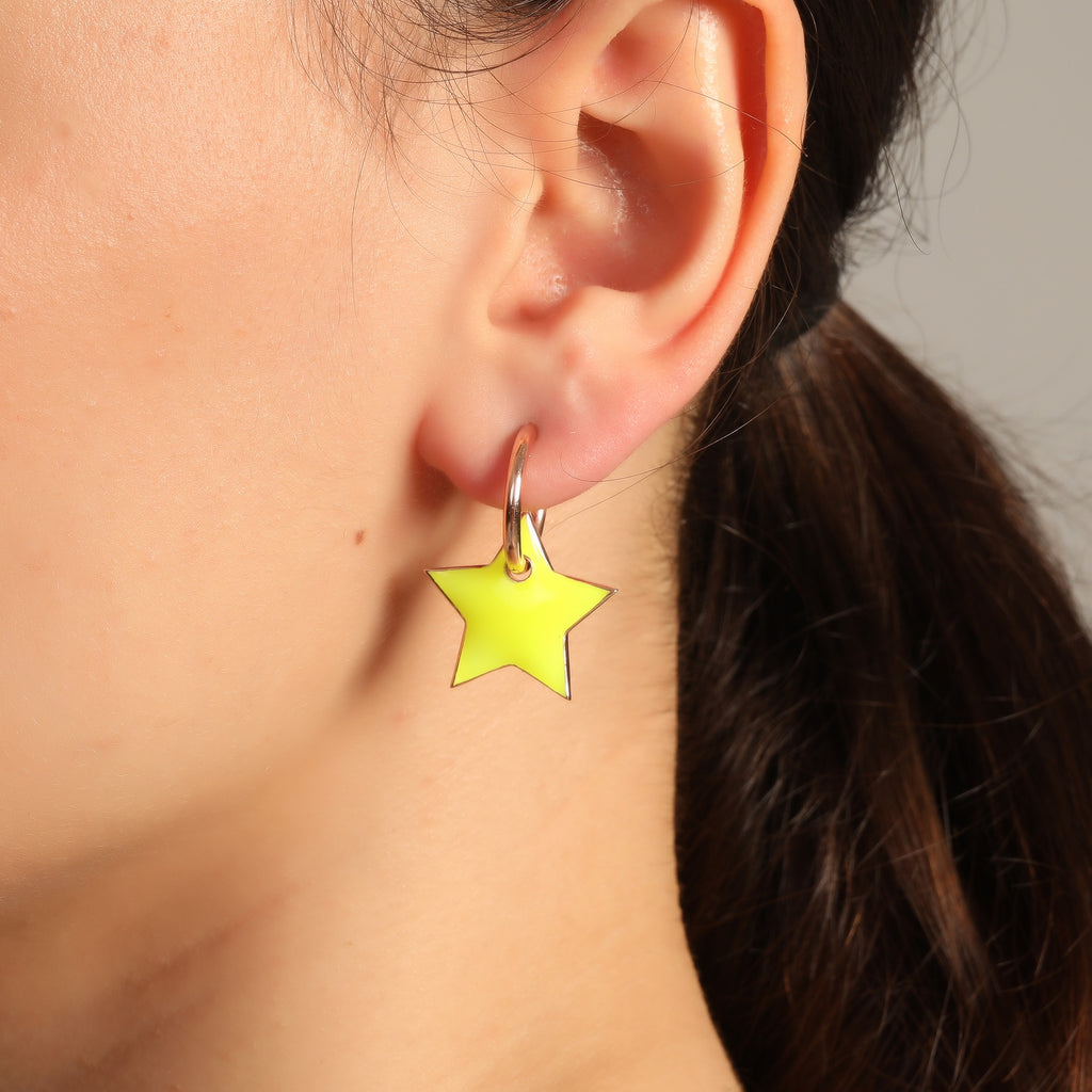 New Trend Neon Yellow Star Dangle Earring 925 Sterling Silver  Wholesale Fashionable Turkish Jewelr