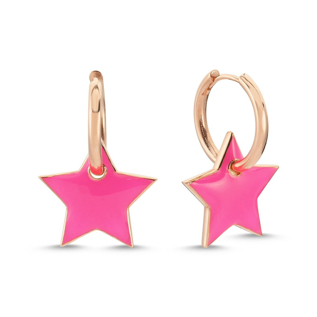 New Trend Neon Enamel Star Hoop Earring 925 Sterling Silver  Wholesale Fashionable Turkish Jewelry