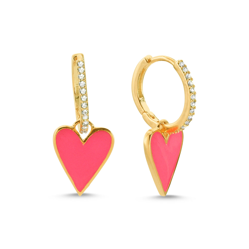 New Trend Neon Pink Heart Zirconium Dangle Earring 925 Sterling Silver  Wholesale Fashionable Turkish Jewelry