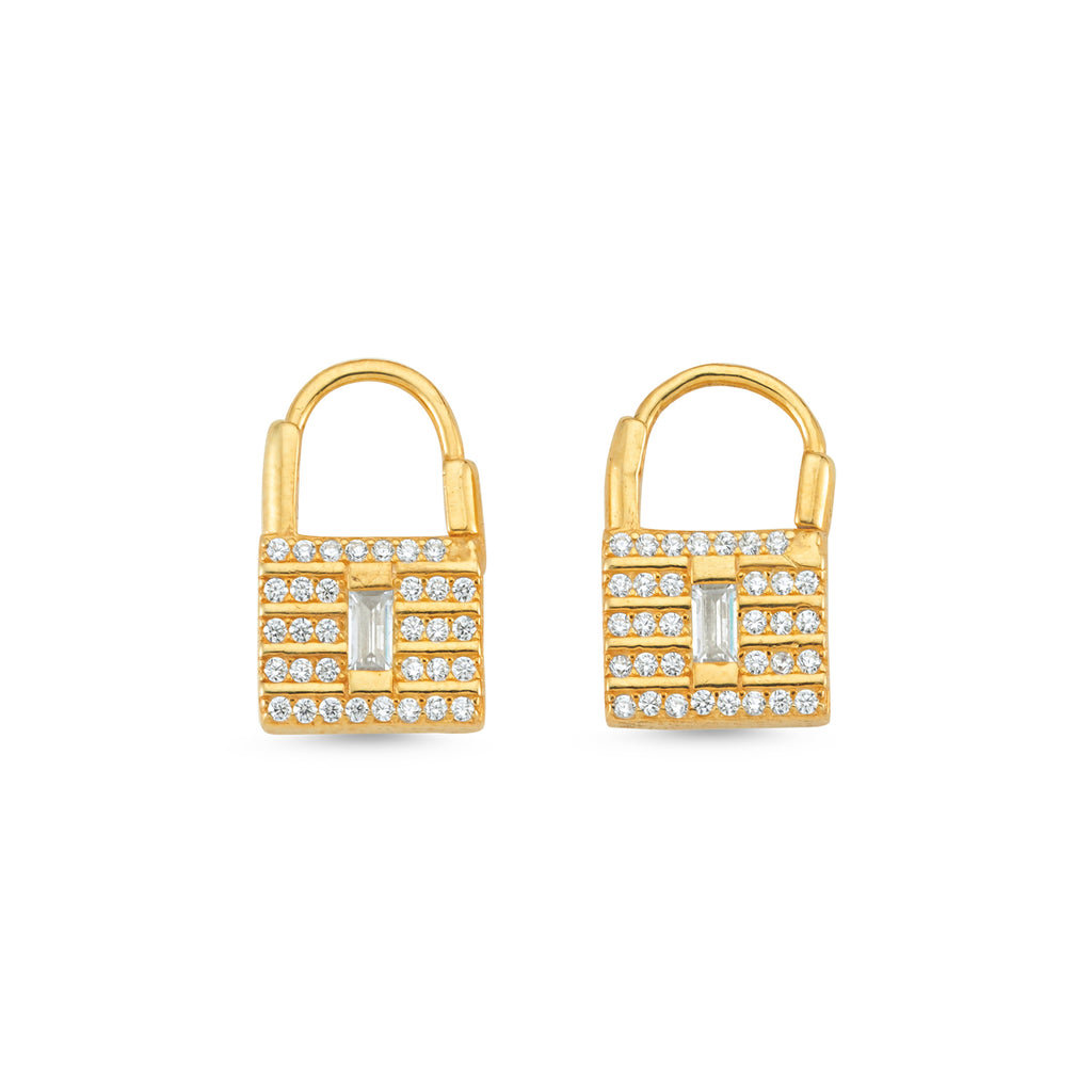 New Trend One Stone Zirconium Padlock Earring  925 Sterling Silver Wholesale Fashionable Turkish Jewelry