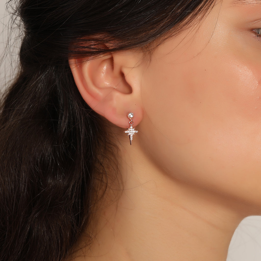 Mini Northstar Zirconia Trendy Earring Wholesale 925 Sterling Silver  Fashionable Turkish Jewelry