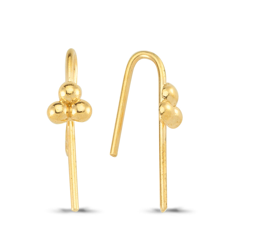 925 Sterling Silver Three Ball Hook Earring Wholesale Fashionable Turkish Jewelry