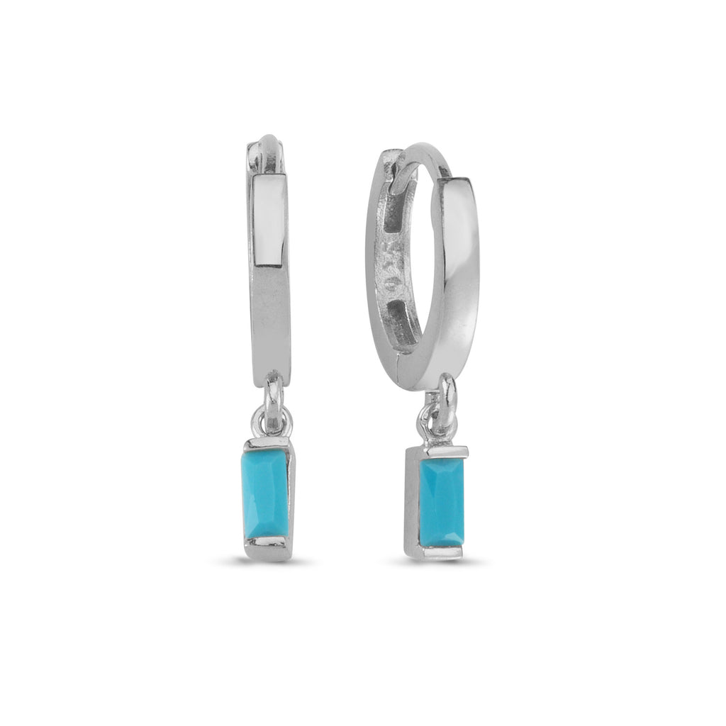 Baguette Turquoise Hanging Trendy Earring Wholesale 925 Sterling Silver  Fashionable Turkish Jewelry