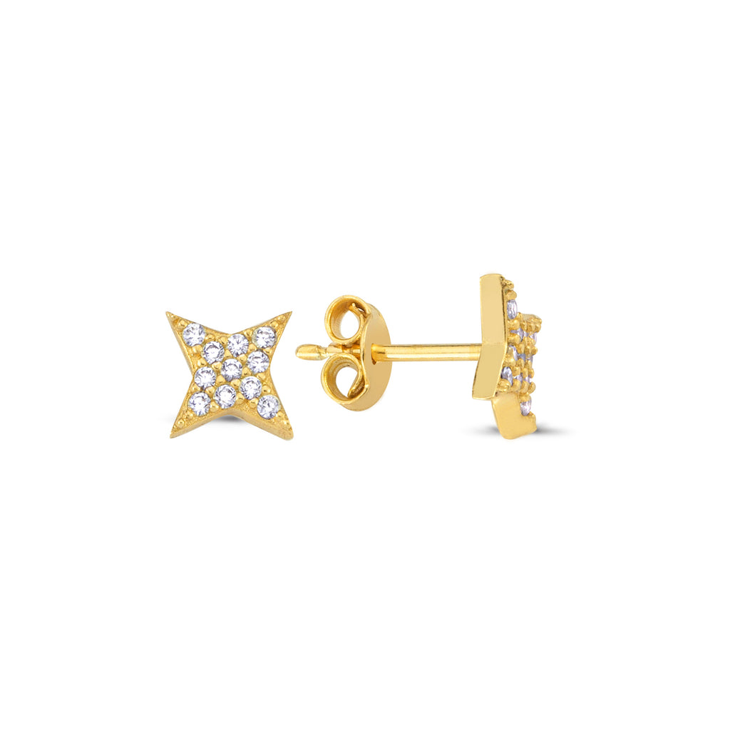 Zirconia Star Stud Trendy Earring Wholesale Fashionable 925 Sterling Silver   Turkish Jewelry