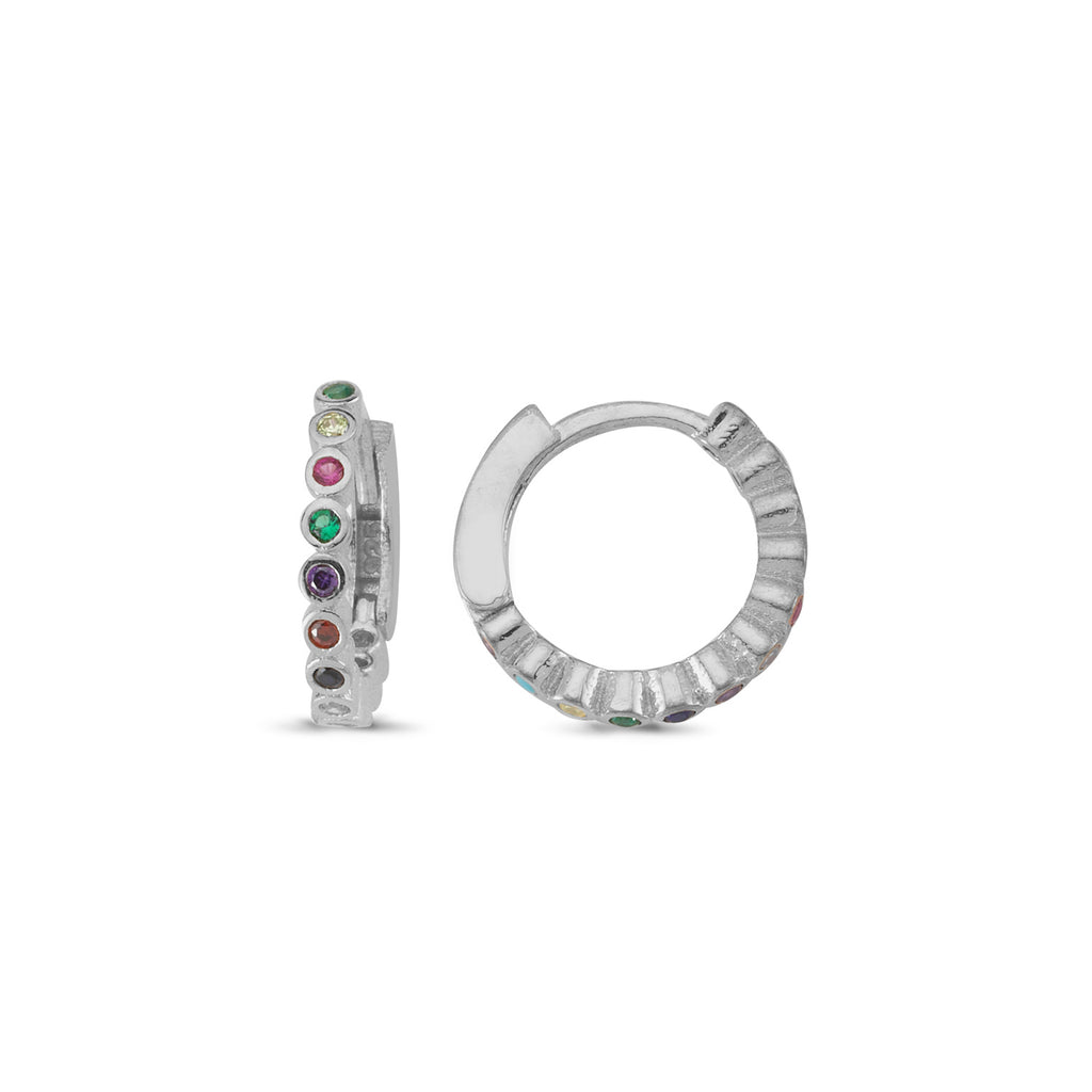 Rainbow Stones Mini Hoop Trendy Earring Wholesale 925 Sterling Silver  Fashionable Turkish Jewelry