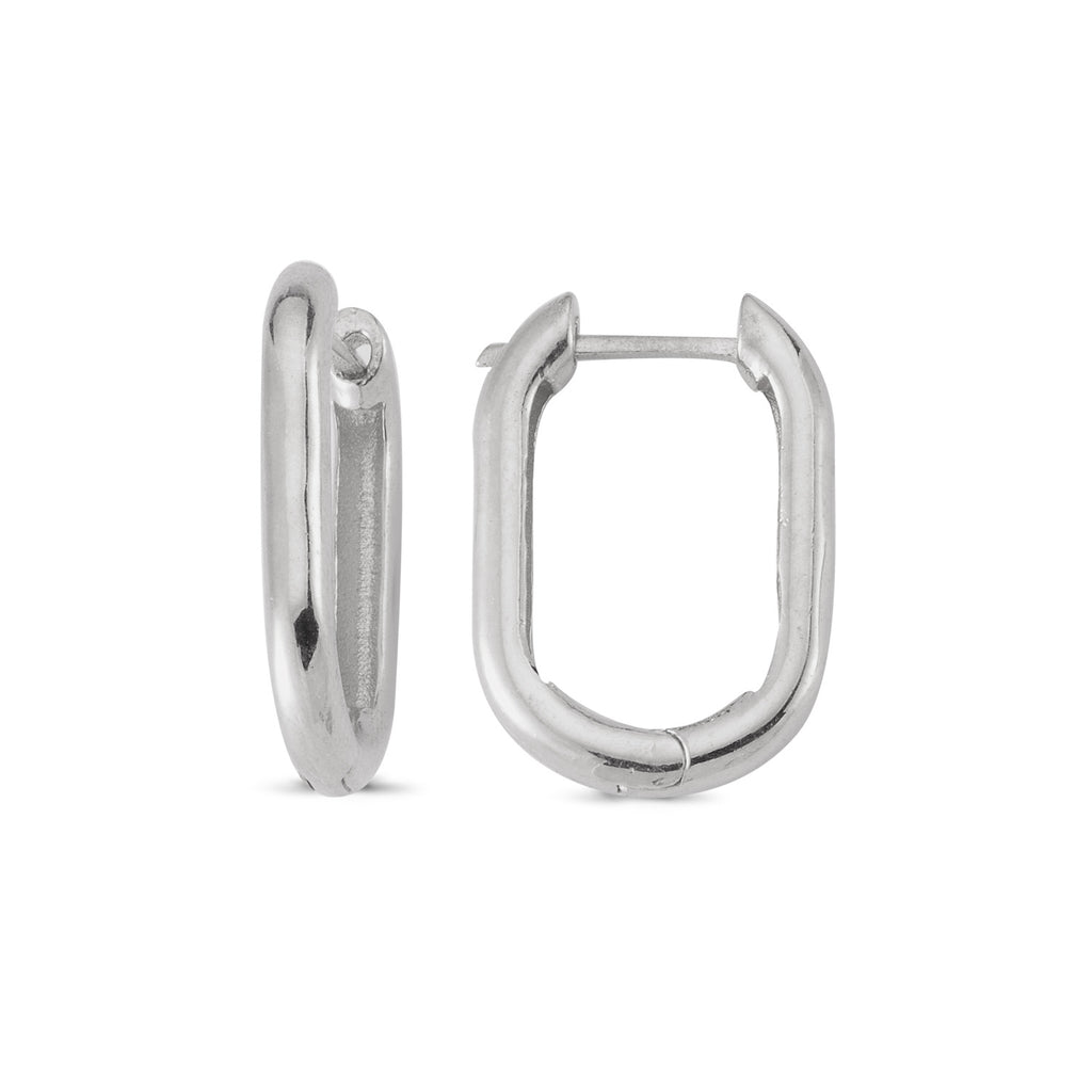 Elongated Hoop Earring Wholesale 925 Sterling Silver  Turkish Jewelry