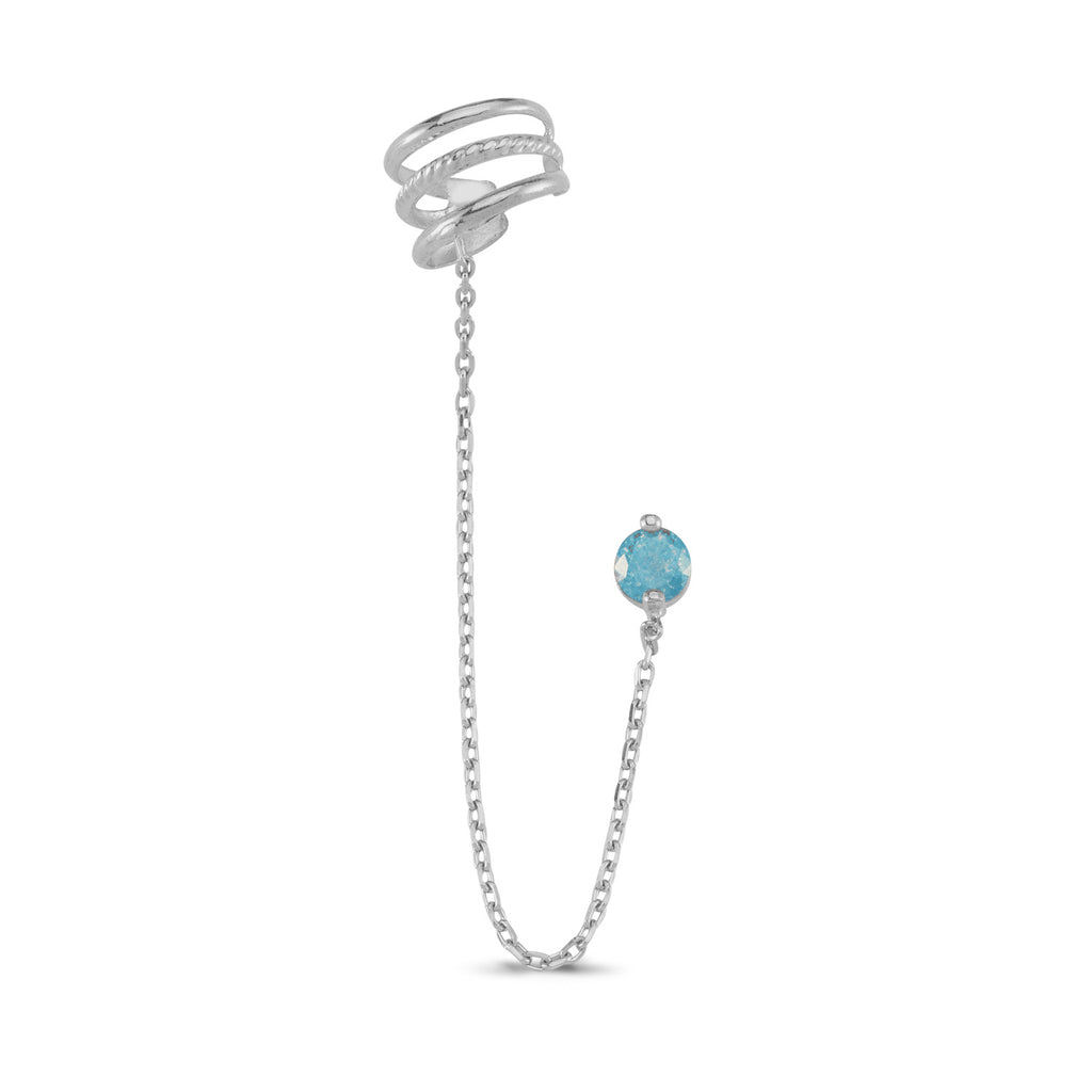 Turquoise Earcuff Chain Earring Wholesale 925 Sterling Silver Turkish Jewelry
