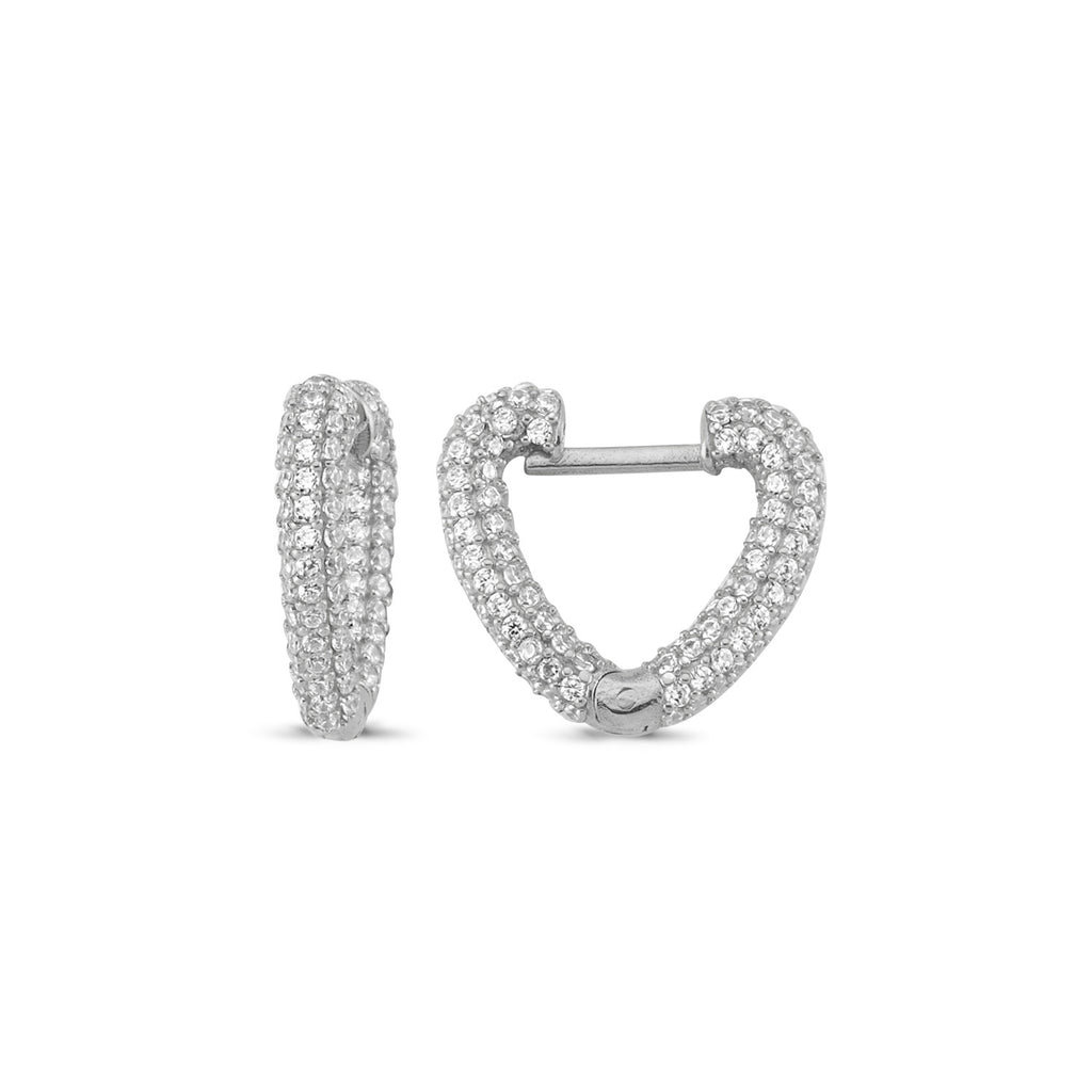 Zirconia Heart Hoop Trendy 925 Sterling Silver Earring Turkish Jewelry