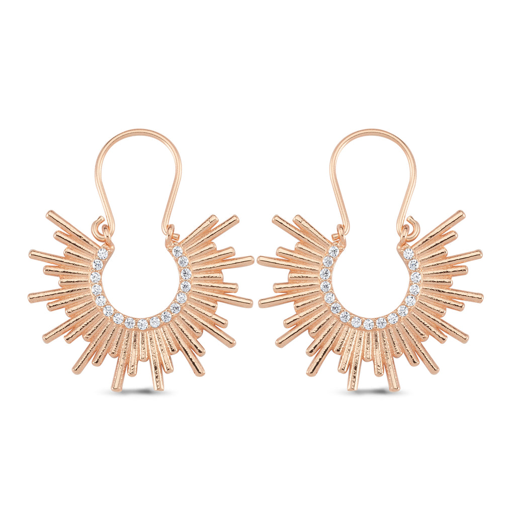 Zirconia Fringed Trendy Earring Wholesale 925 Sterling Silver  Fashionable Turkish Jewelry