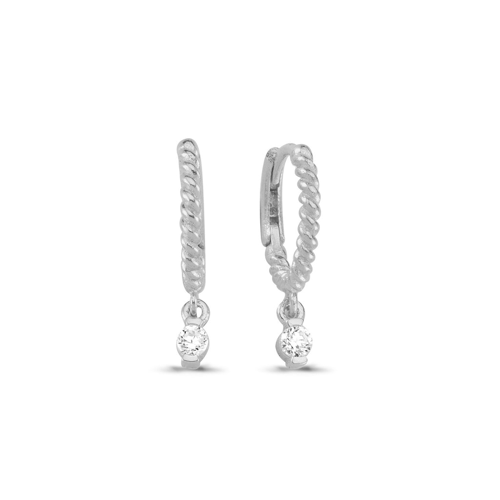 One Stone Twisted Hoop Earring Wholesale 925 Sterling Silver Turkish Jewelry