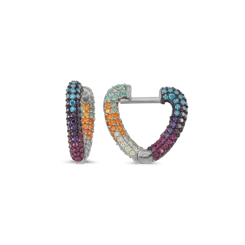 Rainbow Zirconia Heart Hoop Trendy Earring Wholesale 925 Sterling Silver   Turkish Jewelry