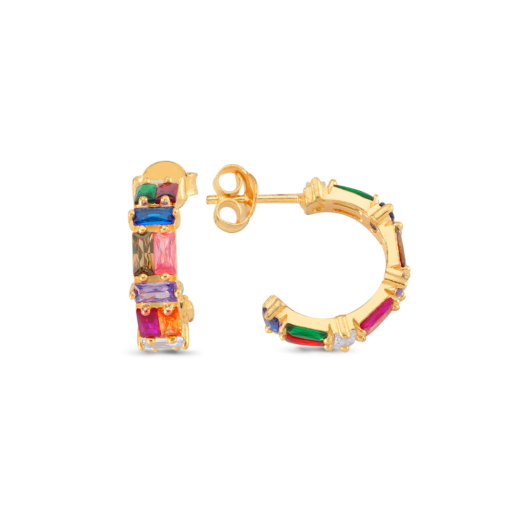 Colorfull Baguette Zirconio Hoop Earring Wholesale 925 Sterling Silver  Fashionable Turkish Jewelry
